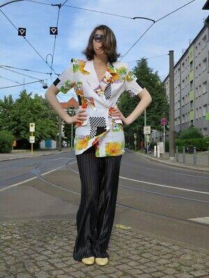 Magana Paris Bluse Tailliert Weiß Bunt Viskose 80er Truevintage 80s Blouse Top