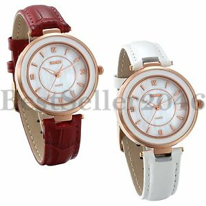 Womens-Watch-Quartz-White-Red-Leather-Strap-Lady-Wrist-Watches-Mom-039-s-Gift