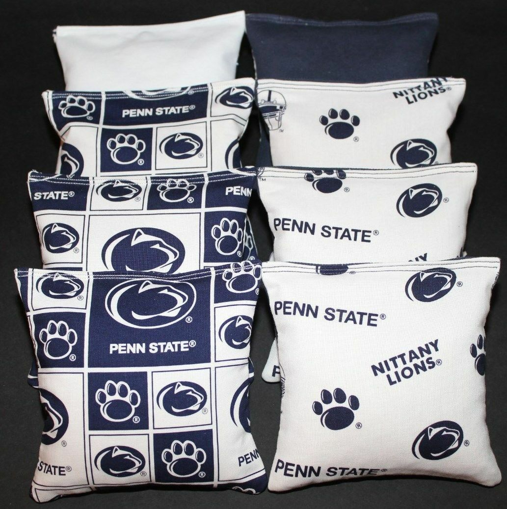 ALL WEATHER CORNHOLE BEANBAGS made w Penn State  Lions Fabric  enjoy 50% off