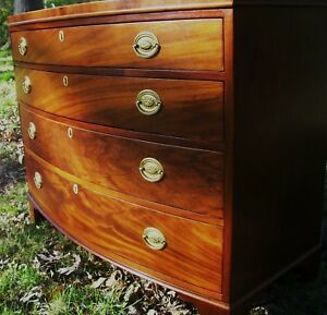 Details About Baker Georgian Federal Chippendale Style Bowfront Mahogany Antique Chest Dresser
