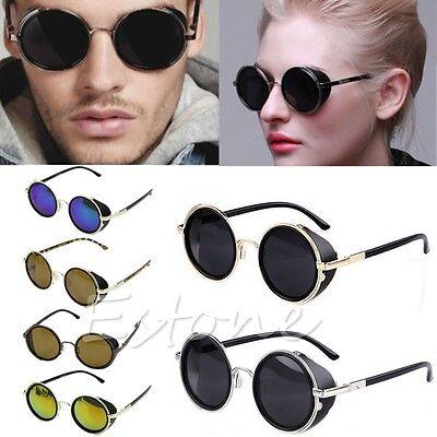 Fashion Women Men Vintage Round Glasses Steampunk Retro Sunglasses Cyber Goggles