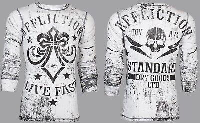 AFFLICTION Mens THERMAL T-Shirt DEATH MACHINE Tattoo WHITE BLACK Biker UFC $68