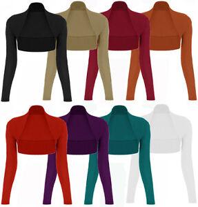 4bb01f10ced5 New Ladies Women Long Sleeve Bolero Shrug Cardigan Top UK Size ...