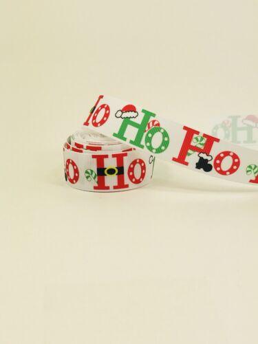 BTY 7//8 Christmas Ho Ho Grosgrain Ribbon Hair Bows Lanyards Lisa