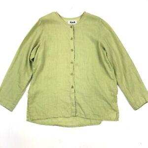 Flax-Women-039-s-Lime-Green-Long-Sleeve-Button-Down-Lightweight-Linen-Blouse-Sz-S