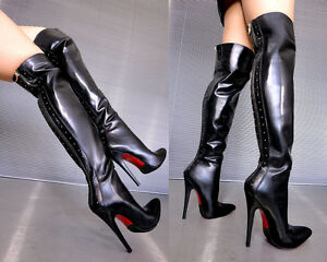 Zip 43 Cq Stiefel Boots Studs Nero Stivali Heels High Leather Overknee Couture twPq4H