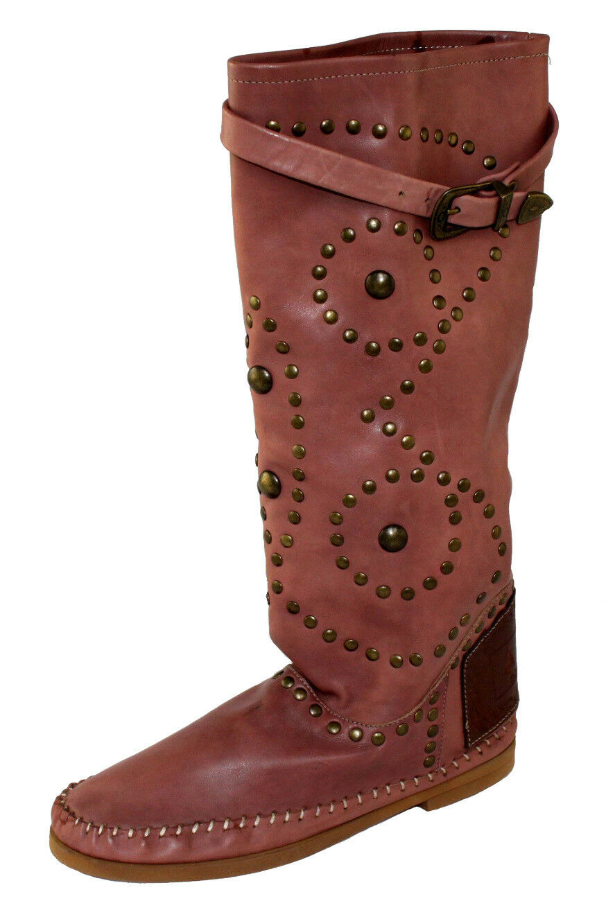 Piampiani Schuhe Mokassins Stiefel Boot Leder Made in  Gr.38 INDI1 ROSÉBRAU