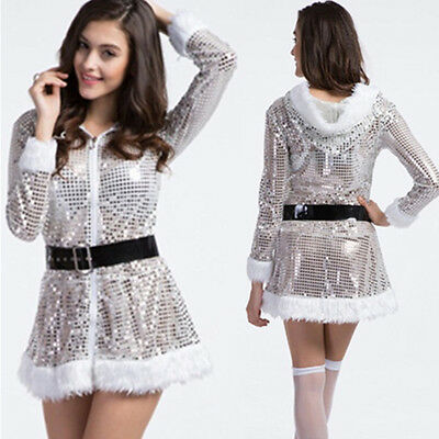 Sexy Santa Claus Xmas Silver Sequins Hooded Adult Women Christmas Costume Outfit