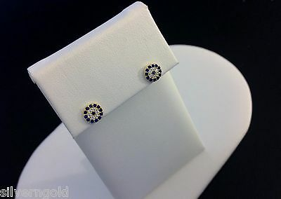 Evil Eye Stud Earrings-14 KT Gold Plated Sterling Silver .925-CZ- Round-Small