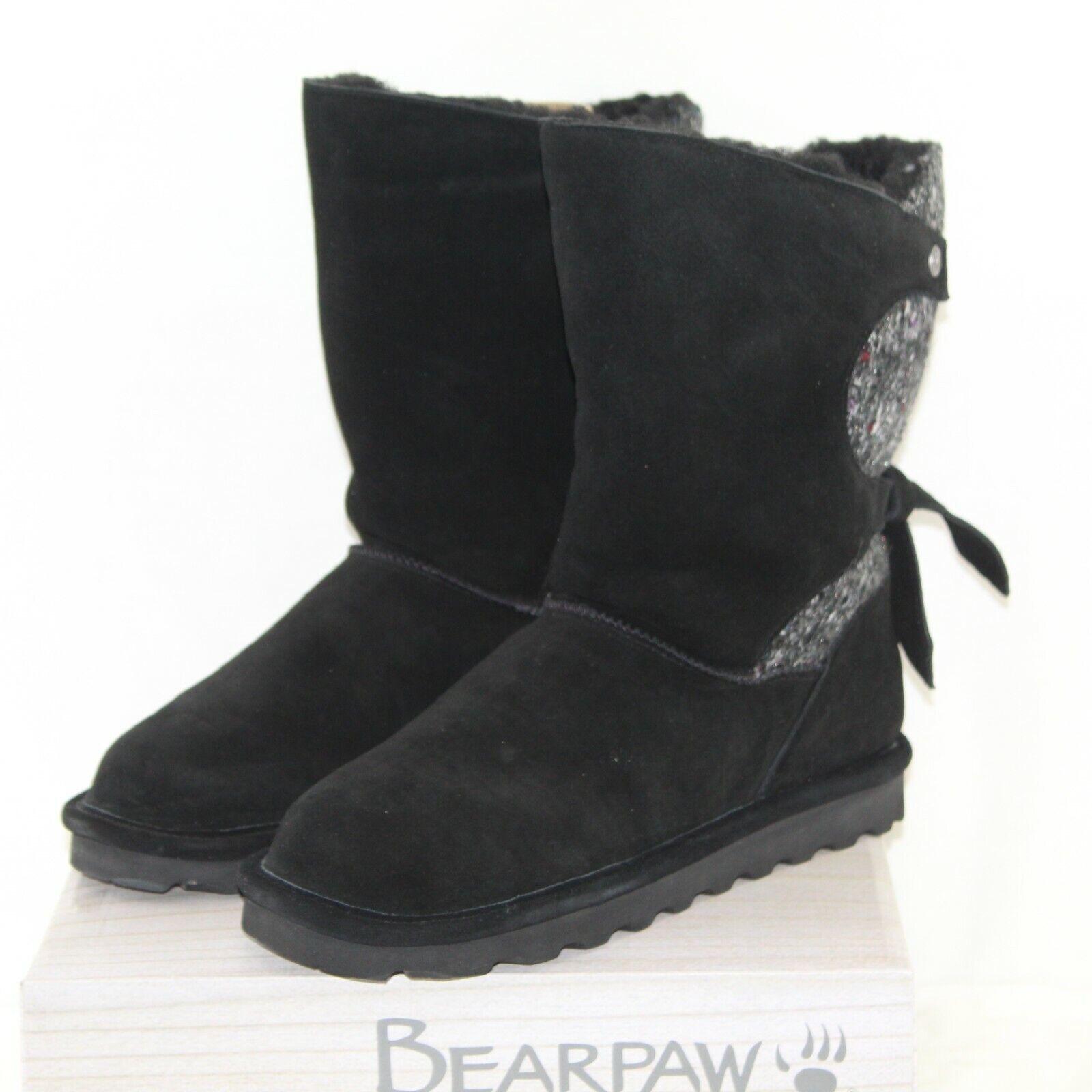 Bearpaw Willow Femme Bottes D'Hiver Mi-mollet Chaussures Tailles Multiples en Daim Noir Nouveau