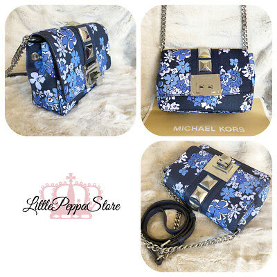 MK blue flower leather chain bag NWT