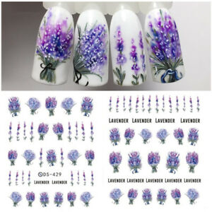 Nail-Water-Decals-Flower-Lavender-Pattern-Nail-Art-Transfer-Stickers