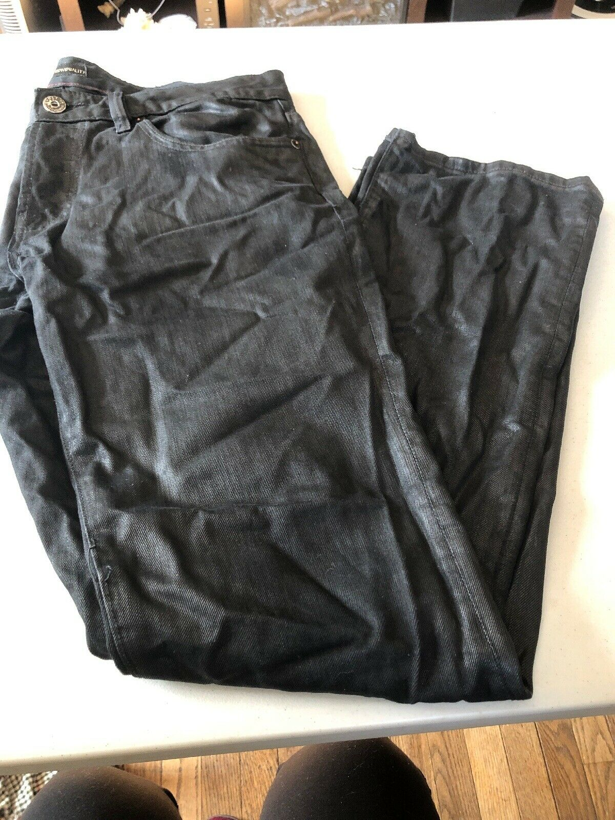 COULT OF INDIVIDUALITY REBEL STRAIGHT HERITAGE DENIM LEATHER MENJEANS SZ34x34