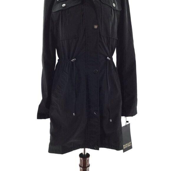 Badgley Mischka black women Anorak/2 way coat Size XS