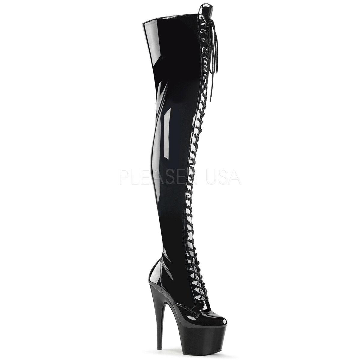 Pleaser Patente Adore - 3023 alto del muslo botas Negro Patente Pleaser exótico baile Stripper Taco De Polo a29790