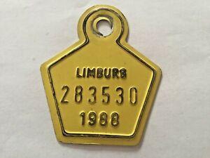 Vintage Belgian Bicycle License Plate 1988.