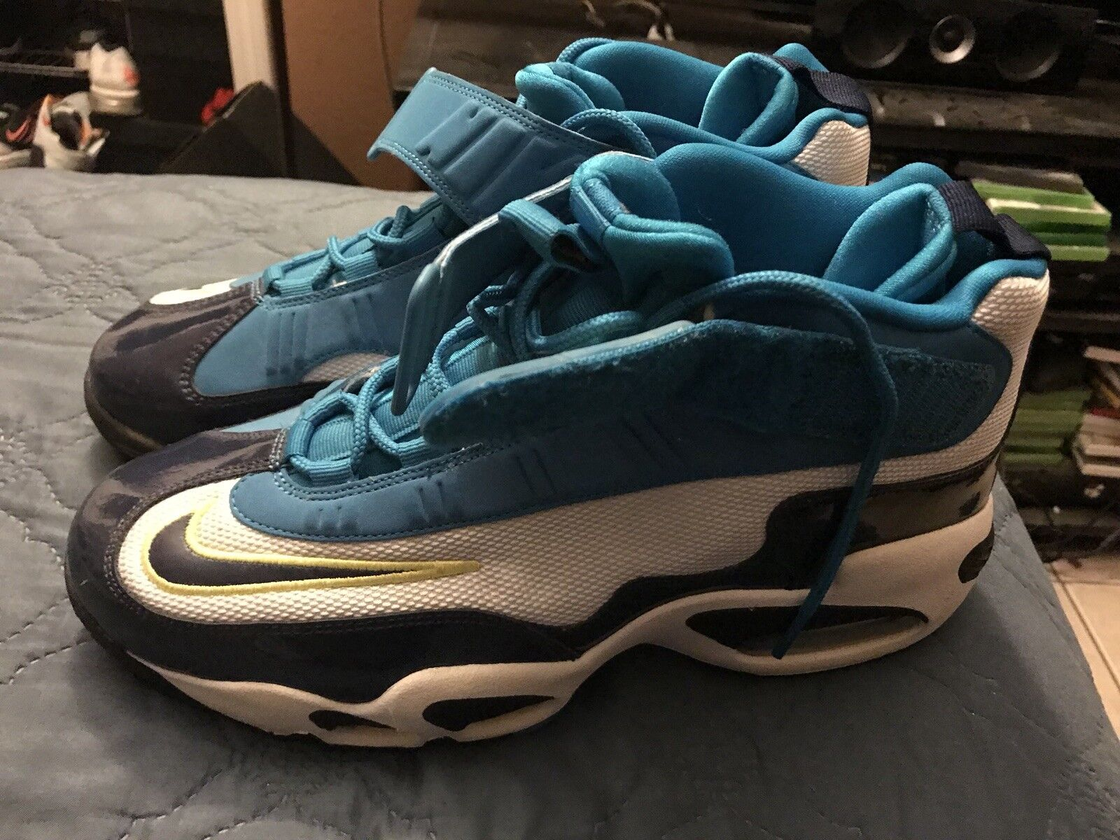 Nike Air Griffey Max 1 Pure Platinum-Midnight Navy-Neo Turquoise Mens size 9.5