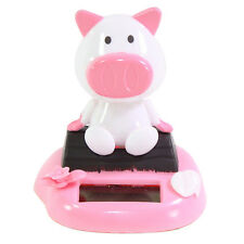 Pig Sitting on Log Forest Chinese Zodiac Dashboard Home Decor Gift Solar Toy