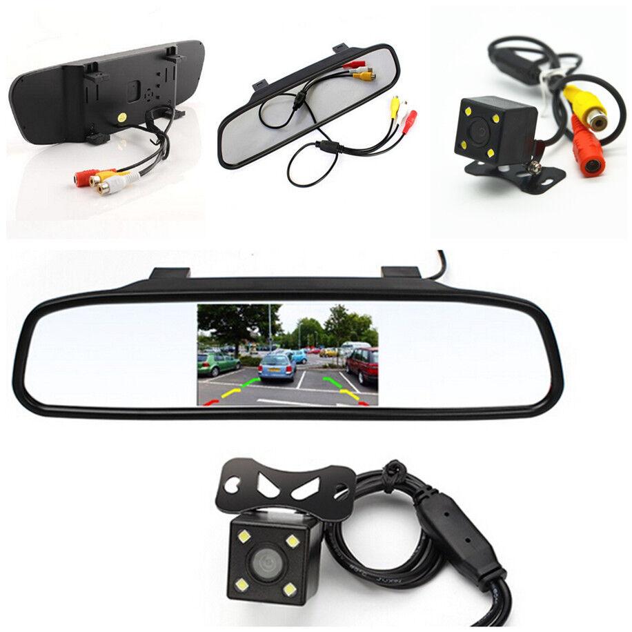 Car Mirror Display Monitor Night Reversing LED Camera Reverse Parking Rear View