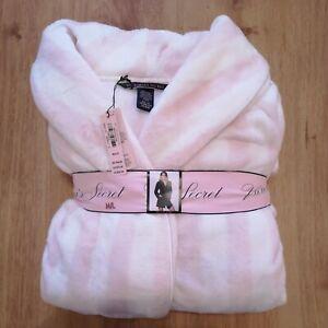 Victoria-039-s-Secret-Short-Classic-Pink-White-Striped-Dressing-Gown-Bath-Robe-M-L