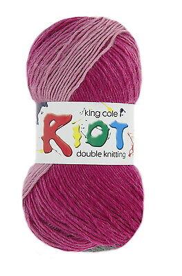 King Cole Riot DK Wool Yarn Various Shades - 100g ball