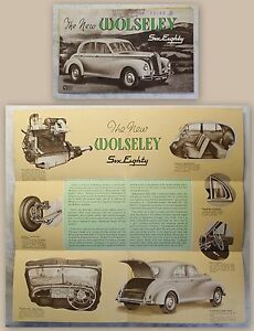 Werbeplakat-Poster-Broschuere-Wolseley-Six-Eighty-6-80-Automobil-um-1950-Oldtimer