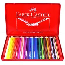 FABER CASTELL 36 Watercolour Pencils Tin Box Sets of Art Drawing Free Shipping
