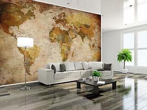 retro weltkarte globus xxl wanddekoration wohnzimmer wandbild