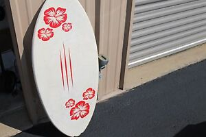 Vintage-Wangler-Surfboard-White-with-Flowers-45-039-039-X-19-5-039-039