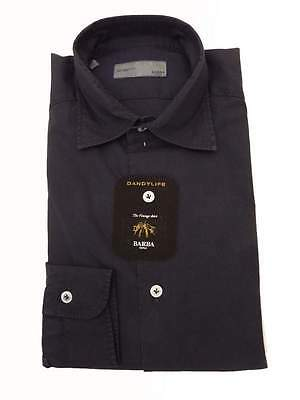 pre-was spread collar almost black Barba Dandylife Shirt: 17  Faded midnight