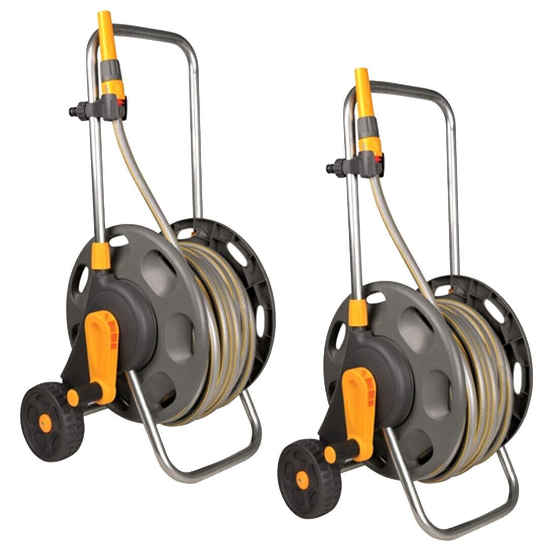Hozelock 60m Assembled Hose Cart with 30m/50m Garden Hose Pipe, Handle & Wheels