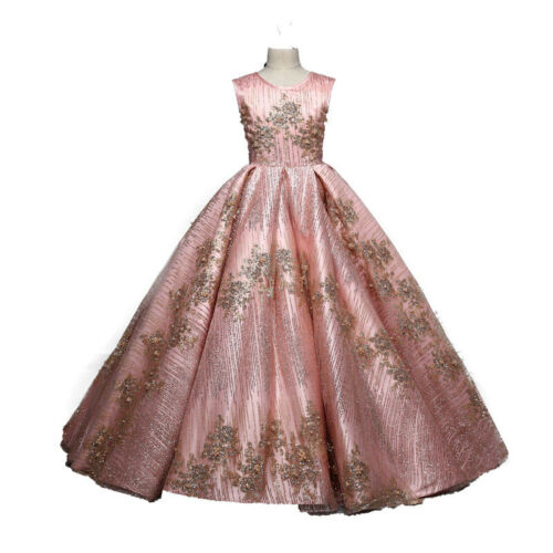 Childrens Kids Girls Elegant Formal Gold Flower Embroidered Pageant Dress Gown