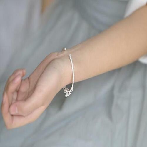 Damen Armband Armreif Kirschblüte Blüte Ast Silber Filigran