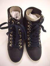 JustFab Rhoada Navy Hidden Wedge Faux Leather Sneaker Size 6 BNIP