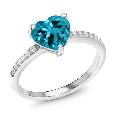 2.24 Ct Heart Shape London Blue Topaz 925 Sterling Silver Ring