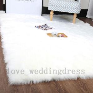 Details About White Rectangle Faux Fur Rug Sheepskin Fluffy Mat Room Sofa Large Balcony Carpet