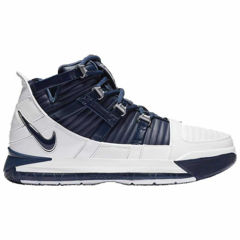 Nike Zoom LeBron 3 White Midnight Navy Metallic Silver Men's 2434103