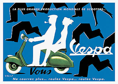 Vintage Vespa Scooter Advertisement Poster 1950s London Bowler Retro City Kitsch