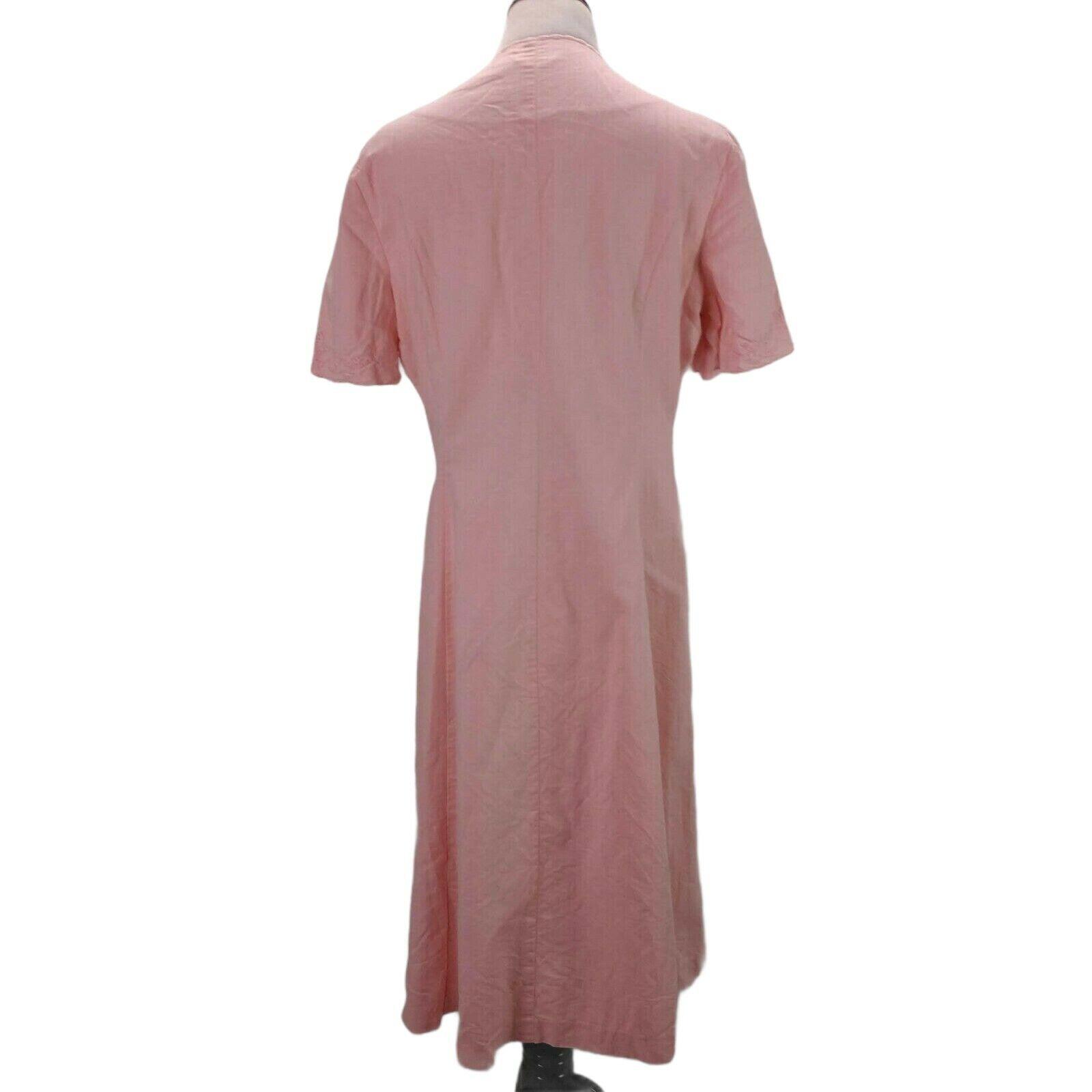 Vintage Laura Ashley Linen Eyelet Dress Size 14 P… - image 4