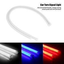 2X 60cm Flexible Tube Guide Car LED Strip White DRL & Amber Turn Signal Light