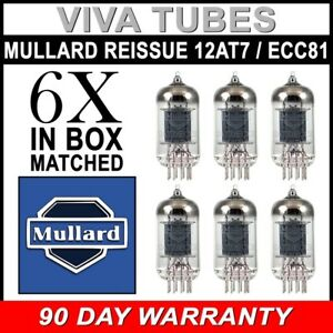 BRANDNEU-Mullard-Neuauflage-12AT7-ECC81-Gain-matched-Sextett-6-Vakuumroehren