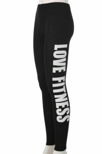 NEW LADIES WOMENS LOVE FITNESS PRINT WORK OUT SIDE PRINT STRETCH LEGGINGS 8-14