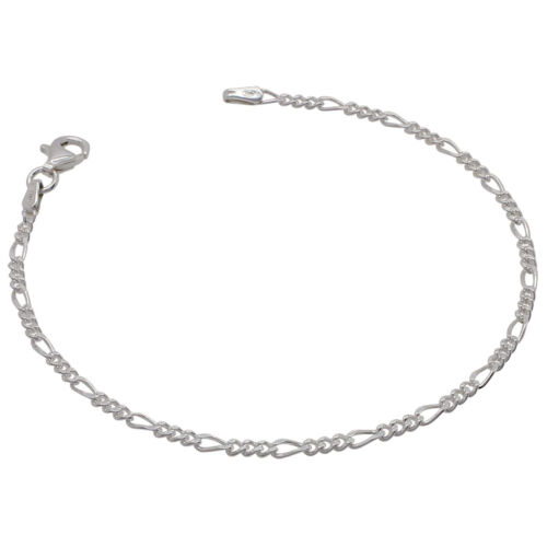 925 Solid Sterling Silver FIGARO chain BRACELET 2mm NEW