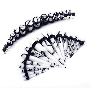 32pcs-Ear-Gauge-Kit-White-Black-Marble-Plug-Taper-14G-0G-Stretching-Piercing