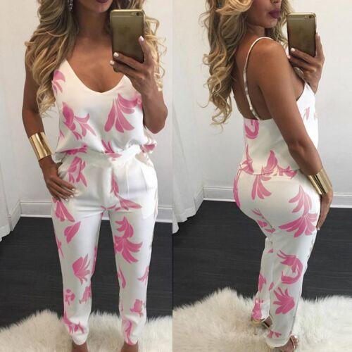 women 2 pieces V-neck top /& long pants floral printed outfits jumpsuit romper