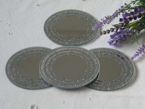 Sets silver miroir rond en verre opalescent Bordure Sparkle sous-verres boissons table mats