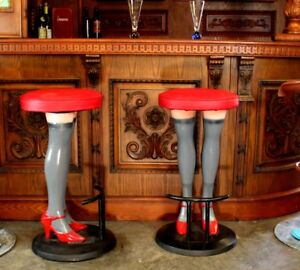 Girls Legs Bar Stools High Heels In Stockings Red Vinyl