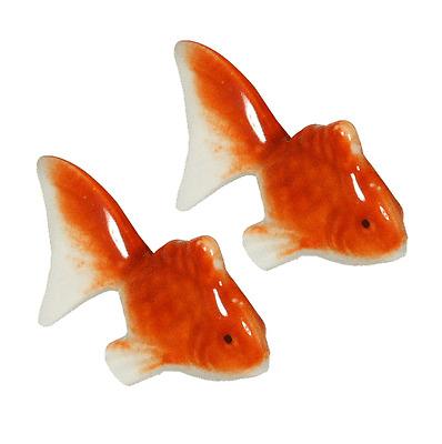 Set of 2 PCS. Japanese Ceramic Orange Goldfish Chopstick Rest, Made in Japan