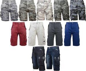 New-Mens-Crosshatch-Canvas-Cargo-Denim-Camo-Shorts-With-Pockets-Waist-32-034-42-034