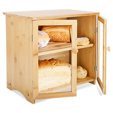 Natural Bamboo Bread Box, Kitchen Bamboo Storage Bin with Double Doors